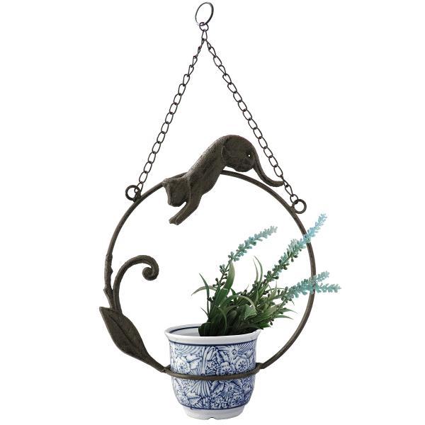 ハンギングポット 猫 アイアン 陶器ポット チェーン付き 吊り下げ 鉢カバー 花瓶 プランターカバー ハイドロカルチャー 多肉植物 アールヌーボー風