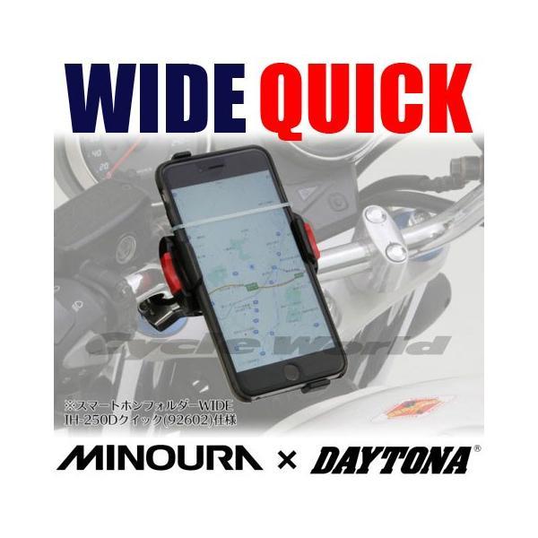 《あすつく》 ミノウラ×デイトナ 92602 スマートフォンホルダー IH-250D 《ワイド クイック》 スマホ ナビ スタンド ツーリング DAYTONA MINOURA|cycle-world