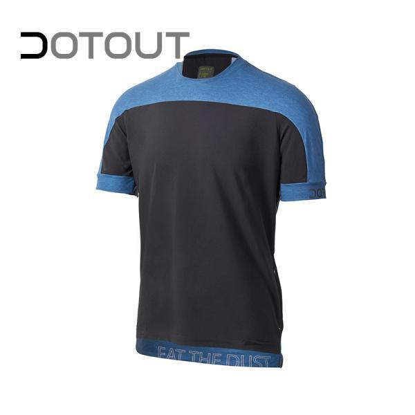 DOTOUT/ドットアウト クロス T-シャツ ブラック-メランジュ ブルー XL Tシャツ