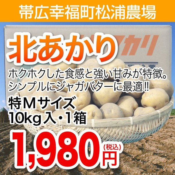 帯広幸福町松浦農場北あかり特Mサイズ10kg入・1箱