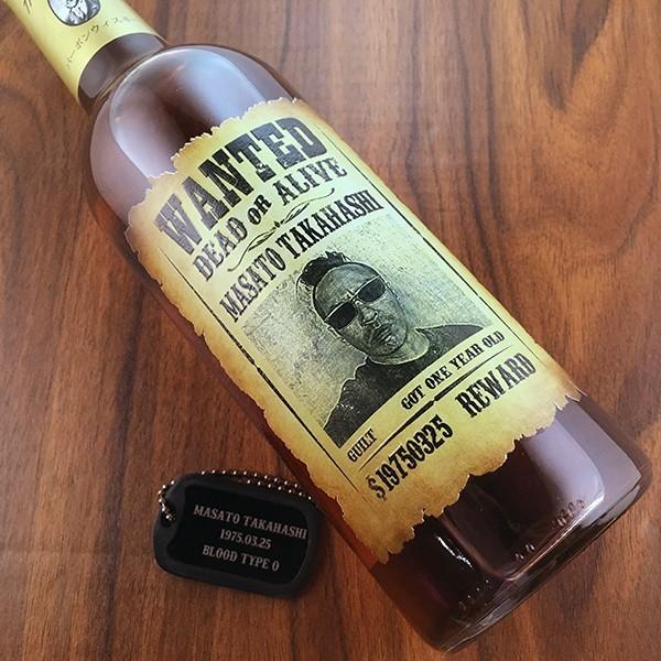 敬老の日 名入れ ギフト プレゼント ウイスキー whisky ドッグタグ付き ジョン ハミルトン 好きな写真で作れる指名手配書 WANTED プリントボトル 700ml|d-craft|02