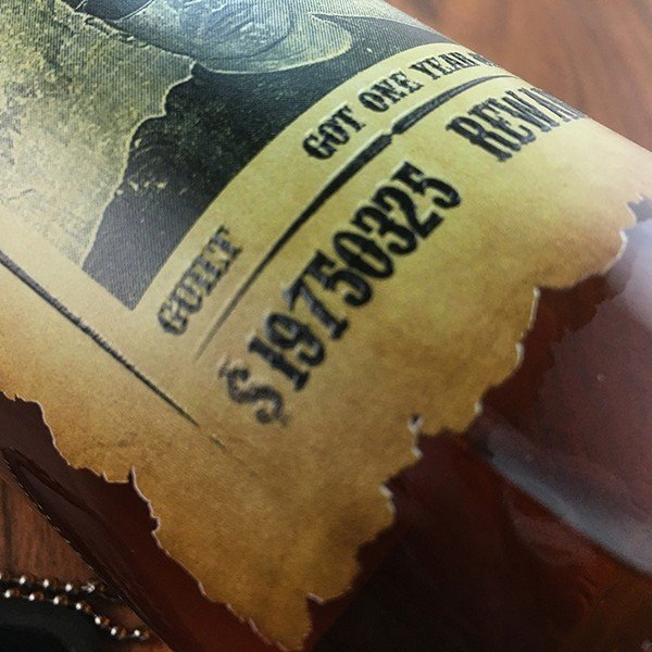 敬老の日 名入れ ギフト プレゼント ウイスキー whisky ドッグタグ付き ジョン ハミルトン 好きな写真で作れる指名手配書 WANTED プリントボトル 700ml|d-craft|05
