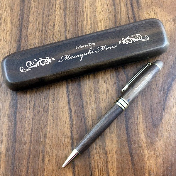 名入れ印刷 趣味に合わせた30種のデザインが選べる木製名入れボールペン&ペンケースセット 茶色(ウォールナット) ありがとう 誕生日|d-craft|02