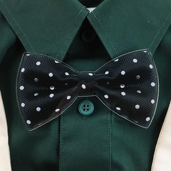 父の日 おしゃれ Yシャツにもつけられる蝶ネクタイクリップ アクリル製 2種 5色 蝶タイ メモ マネー クリップ d-craft 03