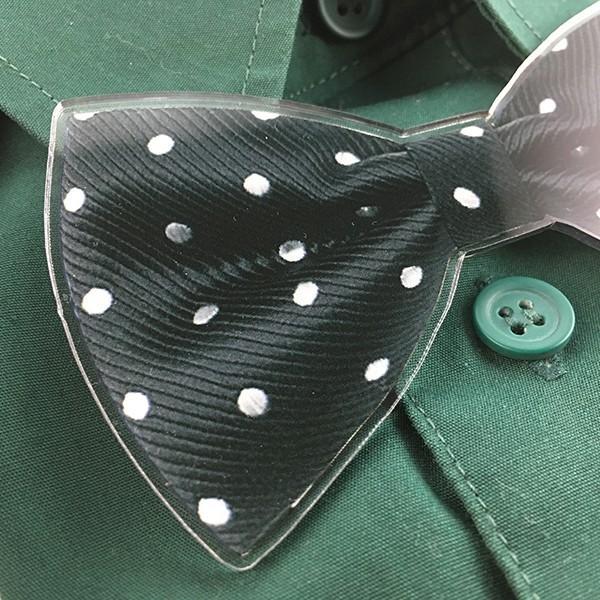 父の日 おしゃれ Yシャツにもつけられる蝶ネクタイクリップ アクリル製 2種 5色 蝶タイ メモ マネー クリップ d-craft 05