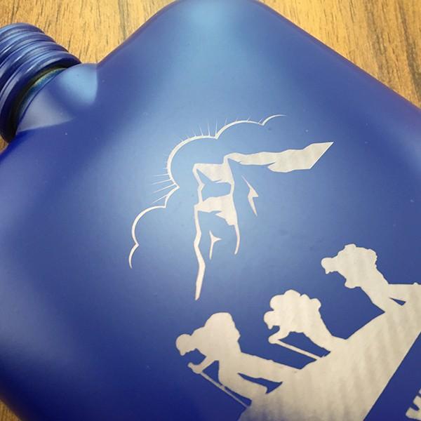 名入れ プレゼント ギフト ステンレス製 絵柄が選べる 名入れスキットル ブルー 6oz (約177ml) 漏斗付き フラスク ヒップボトル d-craft 04