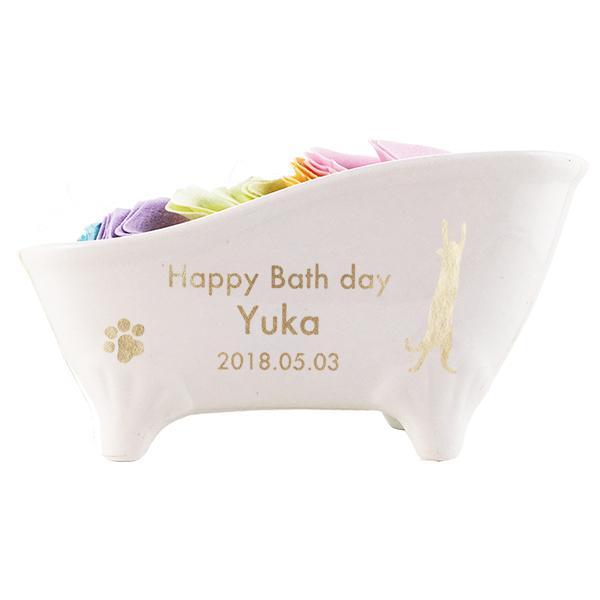 名入れ 入浴剤 猫柄&名入れ彫刻 猫足バスタブ陶器付き入浴剤 ROSE(バラ・薔薇) ギフトセット d-craft 03