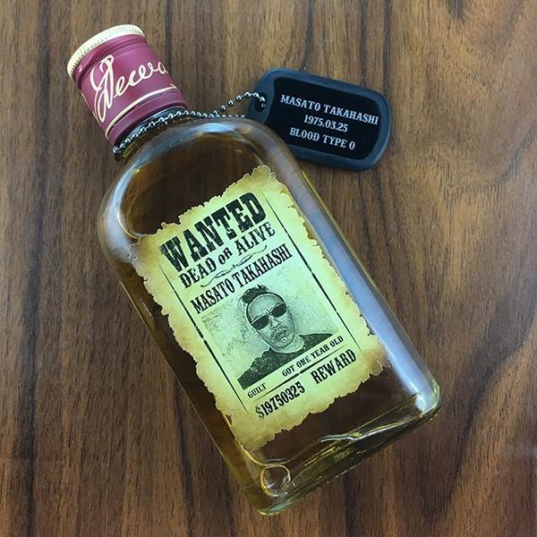 敬老の日 名入れ ギフト プレゼント ウイスキー whisky ドッグタグ付き デュワーズ ホワイトラベル 200ml 好きな写真で作れる指名手配書 WANTED プリントボトル|d-craft|02