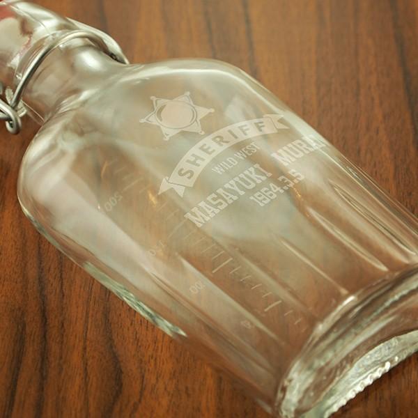 名入れ彫刻 用途に合わせて絵柄が選べる ガラス製名入れスキットル 250ml d-craft 03