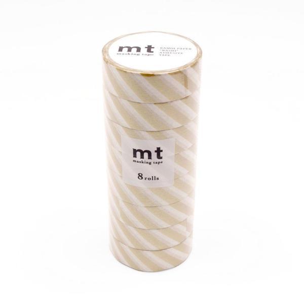 mt マスキングテープ 8P ストライプ・金 MT08D377 宅配便 メーカー直送(ギフト対応不可)