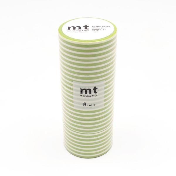 mt マスキングテープ 8P ボーダー・キウイ MT08D388 宅配便 メーカー直送(ギフト対応不可)