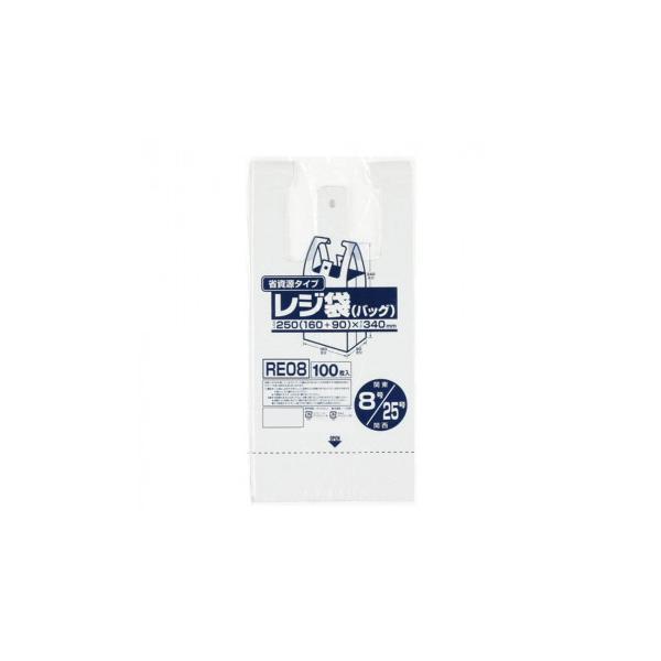ジャパックス レジ袋省資源 関東8号/関西25号 乳白 100枚×20冊×4箱 RE08 代引き不可 宅配便 メーカー直送(ギフト対応不可)