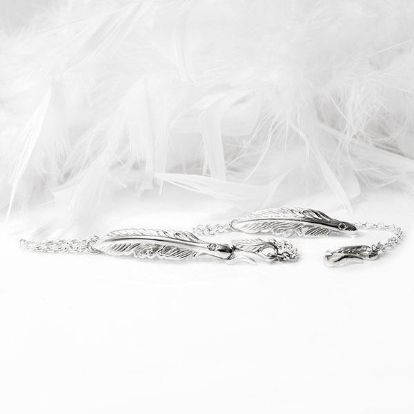 ペアブレスレット ペア ブレスレット ペアブレス ペアアクセサリー フェザー デザイン 誕生石 シルバー シルバー925 クリスマス DAgDART ダグダート DB-183-184|dagdart|03