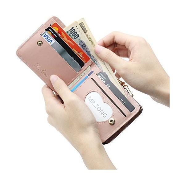 二つ折り ミニ 財布 レディース 2WAY がま口 かわいい 多機能 カード入れ 小銭入れ 写真入れ 大容量 コンパクト 軽量 女性用 ギフト ボタ|dahlia-s|03