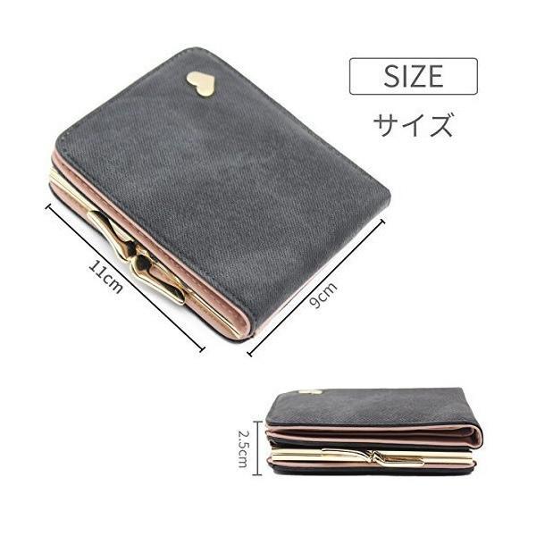 二つ折り ミニ 財布 レディース 2WAY がま口 かわいい 多機能 カード入れ 小銭入れ 写真入れ 大容量 コンパクト 軽量 女性用 ギフト ボタ|dahlia-s|06