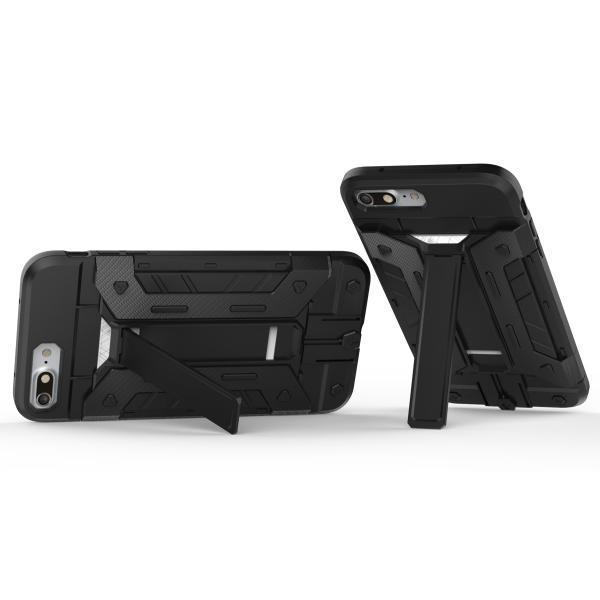 df206a1d0f ... 三重構造iPhone7 iphone7plus ケースハイブリッド耐衝撃TPU頑丈ケースカード収納スタンド付きPC ...