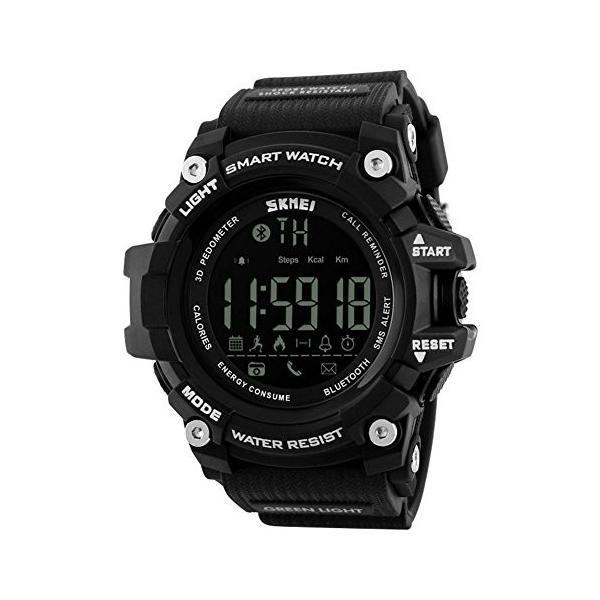 Ommda メンズ 腕時計 防水 スポーツウォッチ LED デジタル ブルートゥース 歩数計 活動量計 カロリー 着信電話 SMS APP 通知 時