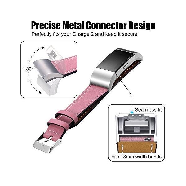 Fitbit charge2 革製 バンド ソフトで柔らかい 男女通用 腕時計アクセサリ交換ベルト・腕飾り  多色選べる(ピンク)