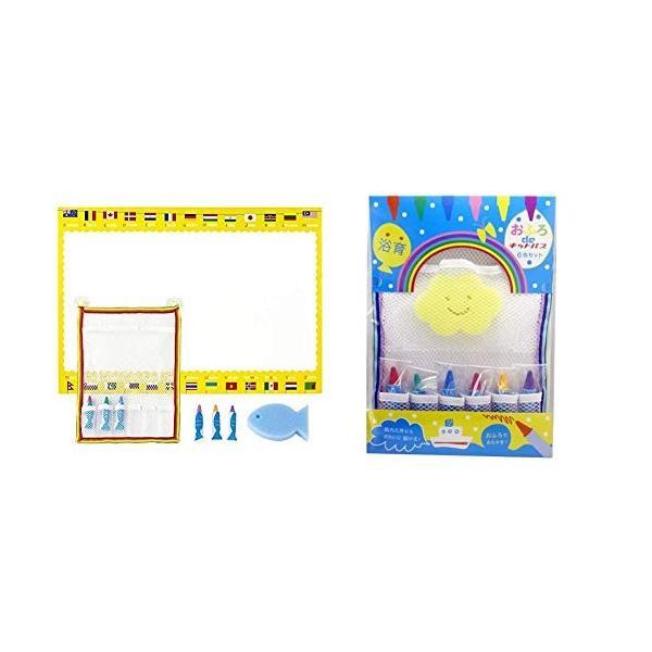 日本理化学 おふろdeキットパス ネット&シートセット ブルー&国旗 OFB-BUW &  おふろdeキットパス ネットセット イエロースポンジ K|dai-king