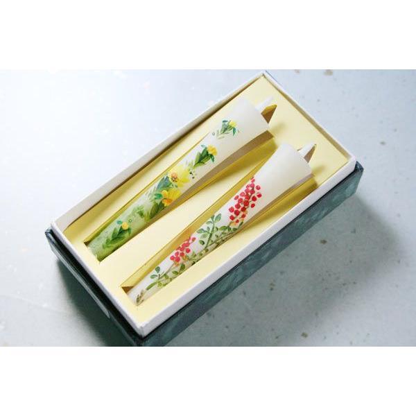 和蝋燭 手描き和ろうそく 縁起のよい 南天と福寿草 3号