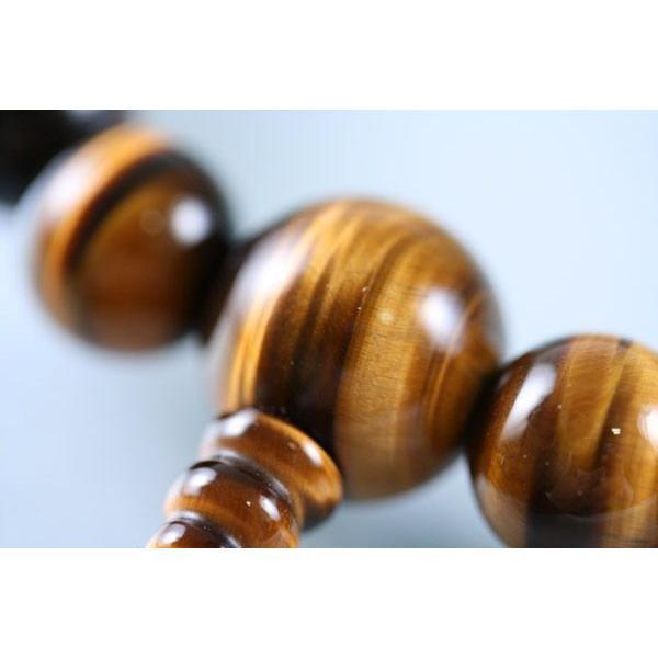 数珠 男性用 数珠袋付上撰虎目石(虎眼石・タイガーアイ)22玉共仕立:正絹頭房|daikokuya-b|02