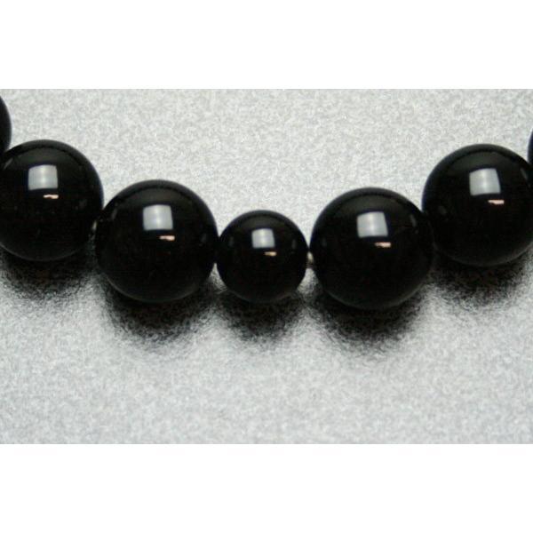 数珠 男性用 黒オニキス(ブラックオニキス)22玉共仕立:正絹頭房 桐箱入|daikokuya-b|03