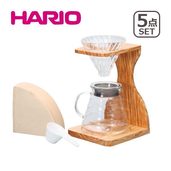 HARIO(ハリオ)V60 オリーブウッドスタンドセット 人気の5点セット 計量スプーン&ペーパーフィルター付き VSS-1206-OV