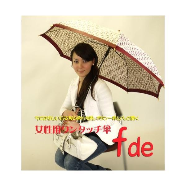 日本製 女性用ワンタッチ傘 fde、白地×黒(C)