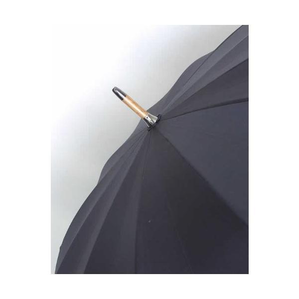 前原光栄商店 前原傘 紳士用 12本骨超ロング ブラック 手元マラッカ籐