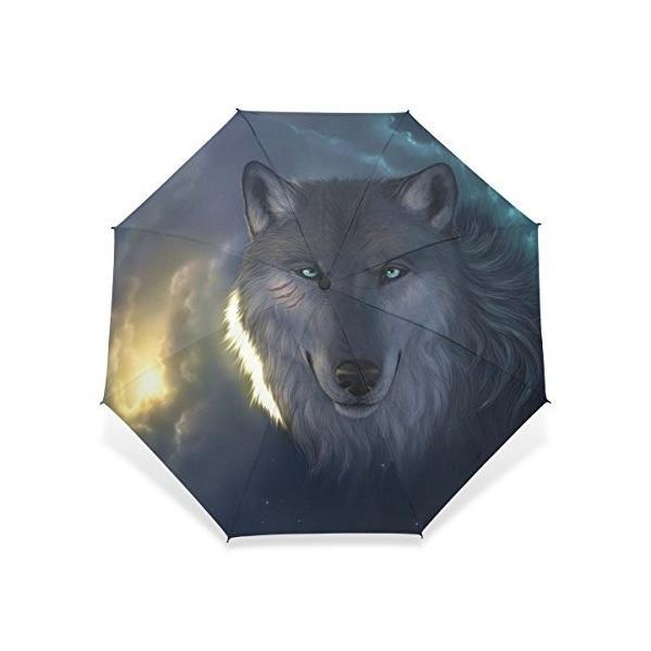 baihuishop傘スポーツコンパクト旅行防風ゴルフ傘、雨、傘***強力なフレームUnbreakableウルフパターンポータブルSunny