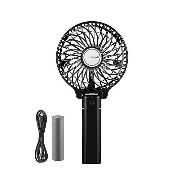 EasyAcc 携帯扇風機 USBミニ扇風機 LG 2600ma バッテリー電池付き 小型 手持ち 折り畳み式 卓上置き両用 熱中症対策|daim-store