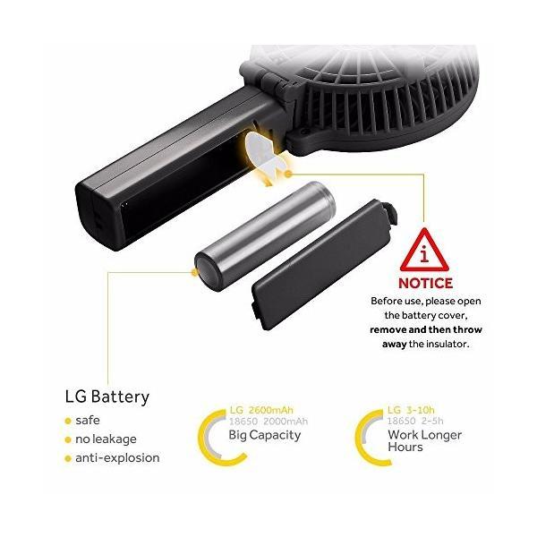 EasyAcc 携帯扇風機 USBミニ扇風機 LG 2600ma バッテリー電池付き 小型 手持ち 折り畳み式 卓上置き両用 熱中症対策|daim-store|02