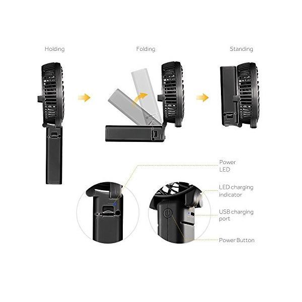 EasyAcc 携帯扇風機 USBミニ扇風機 LG 2600ma バッテリー電池付き 小型 手持ち 折り畳み式 卓上置き両用 熱中症対策|daim-store|03