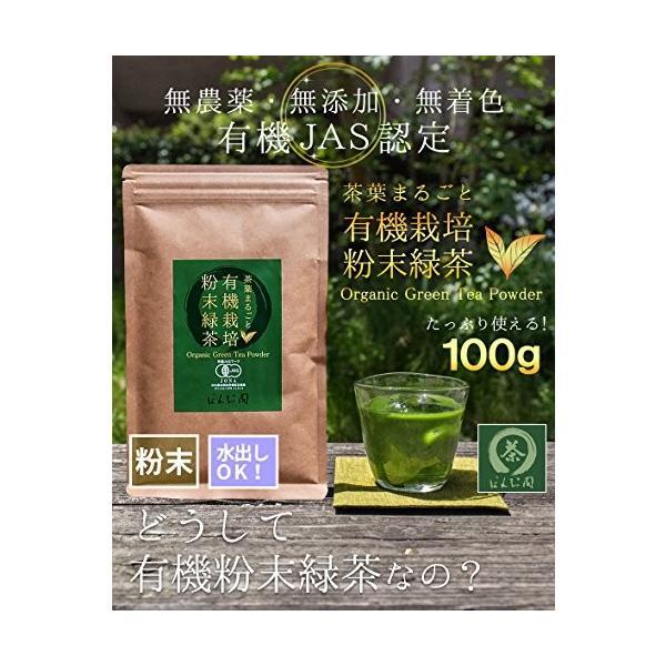 M 5袋セット オーガニック 国産 有機 粉末緑茶 100g×5袋 JAS認定 煎茶100% /セ/|daim-store