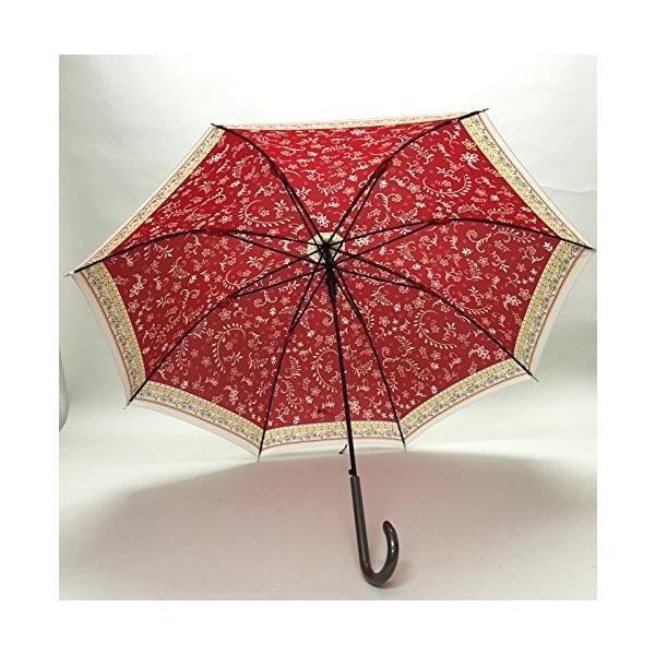 【婦人】 【雨傘】 エスニックプリントジャンプ傘 60cm 赤 MK478500-RD