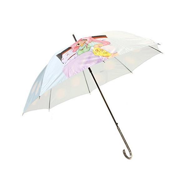 萌えキャラサテン傘 グラスファイバー仕様 60cm ジャンプ傘 サックス