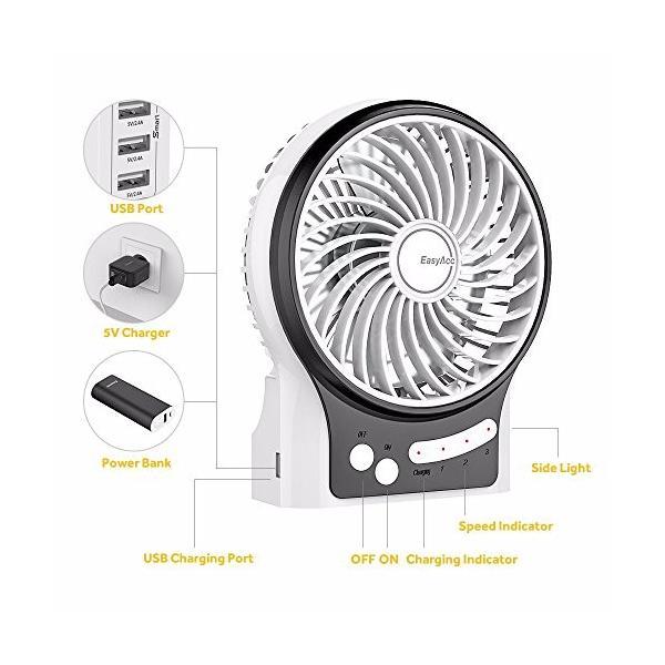 EasyAcc USBミニ扇風機 卓上ファン 小型 携帯用 3段階調節 LGバッテリー電池と LEDライト付き 手持ち 卓上置き両用 熱中症対策|daim-store|03
