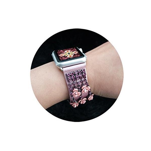 時計バンド交換ベルト腕時計ストラップapple iWatch 適用 本革 3サイズ 38mm 各7カラー選べる タッセルつき (Large,