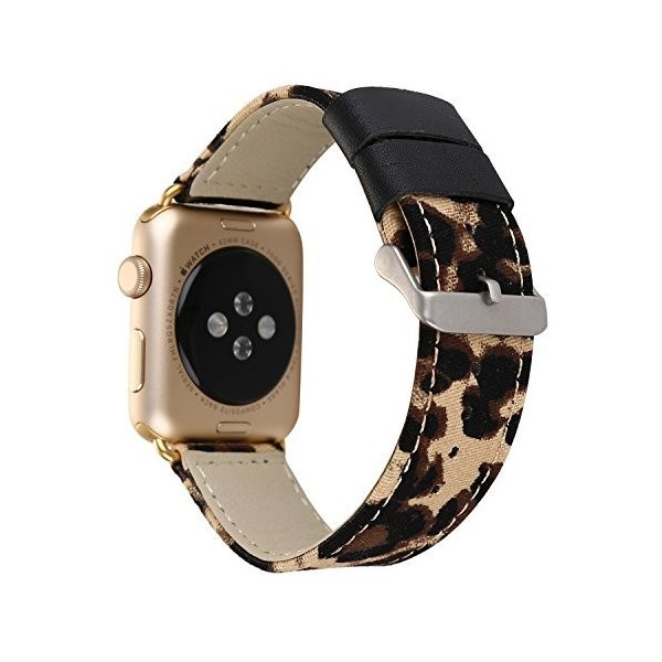 Apple Watchバンド38*mm メタルクリスプ付きヒョウプリントレザーとデニム生地のWatchバンド Apple Watch Series