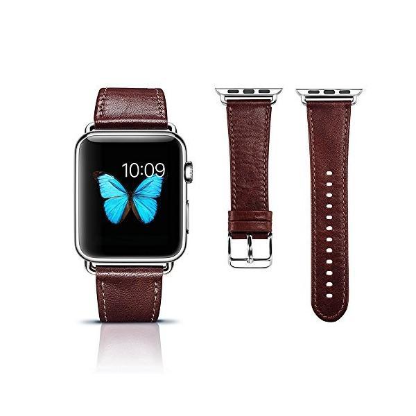 Apple Watch バンド 本革ベルト ICARER for i watch シリーズ金属クラスプ 簡単交換 手作りビジネス風 腕時計