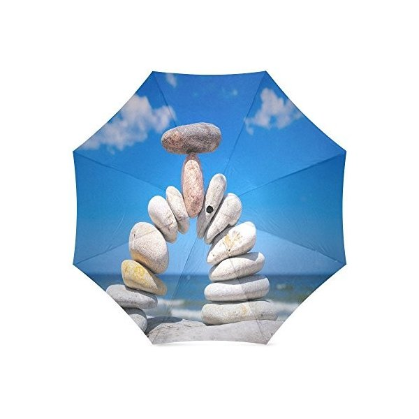 カスタム美しいカラフルな石コンパクト旅行防風防雨折りたたみ式傘