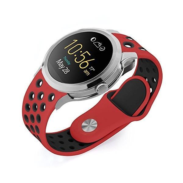 Lamshaw 穴 シリコーン 交換バンド 対応 FOSSIL 腕時計 Q Founder Gen 1/Gen 2 スマートウォッチ /