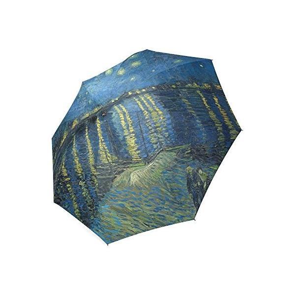 カスタムVincent van Gogh starry night on the Rhone川コンパクト旅行防風防雨折りたたみ式傘