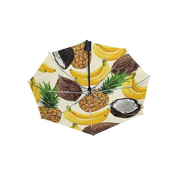 折りたたみ傘 自動開閉 レディース 軽量 晴雨兼用 フルーツ ココナッツ パイナップル バナナ 日傘 ワンタッチ UVカット 頑丈な8本骨 耐風