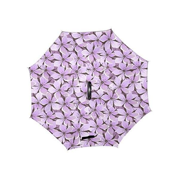 SUKAU 逆折り式傘 日傘 逆転傘 逆さ傘 花柄 パープル 長傘 自立傘 晴雨兼用 UVカット 遮光遮熱 撥水加工 耐風 手離れC型手元|daim-store|02
