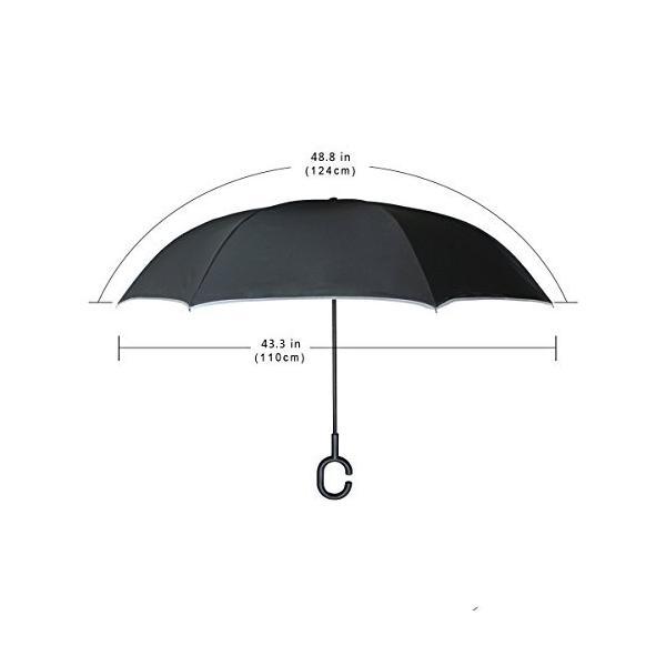 SUKAU 逆折り式傘 日傘 逆転傘 逆さ傘 花柄 パープル 長傘 自立傘 晴雨兼用 UVカット 遮光遮熱 撥水加工 耐風 手離れC型手元|daim-store|06