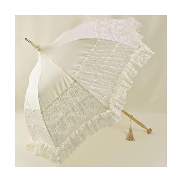 LALUICE(ラルイス) 長傘 アイボリー 全長約92cm 直径約101CM