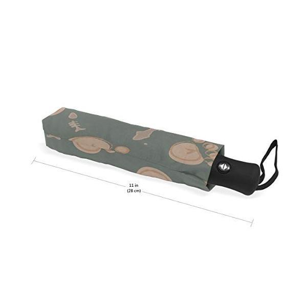 キャットブラウンスタンプ 自動折りたたみ傘 UV保護 自動開閉 折りたたみ式 防風 日よけ 旅行 ビーチ レディース キッズ 10.5 In x 5