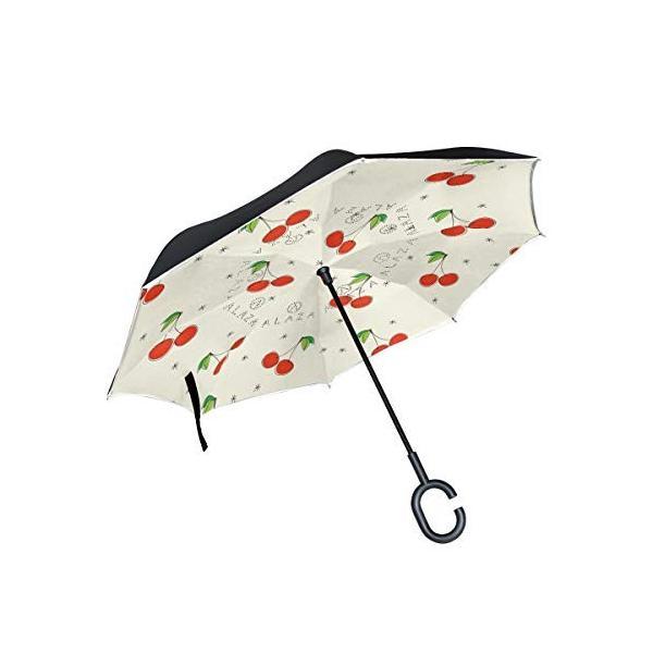 Tskyoo 逆さ傘 長傘 さくらんぼ おしゃれ ワンタッチ 二重生地構造 手離れC型手元 撥水加工 車用 自立式 uvカット 晴雨兼用|daim-store