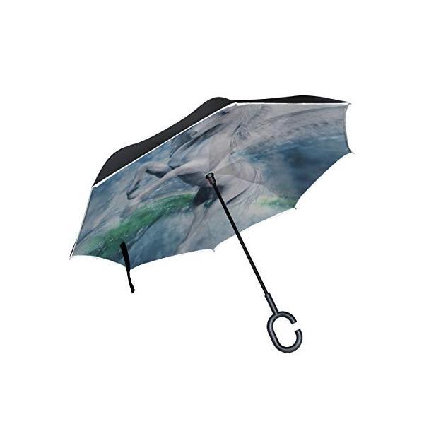 CKYHYC 逆さ傘 翼のある馬 長傘 逆折り式傘 折りたたみ傘 逆転傘 手離れc型手元 耐風 撥水 車用 晴雨兼用 8本骨 梅雨対策 Uvカット daim-store 07